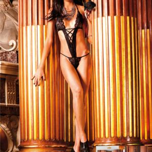 בגד גוף משולש פראי – שחור - baci lingerie